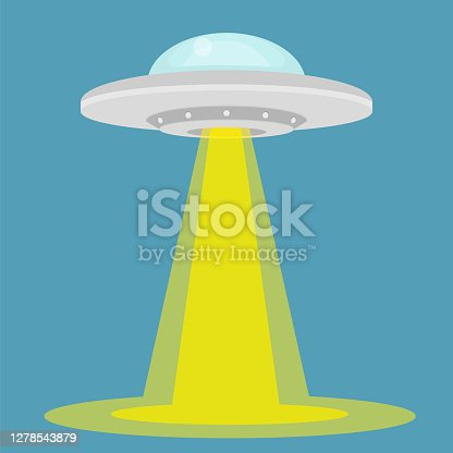 istock UFO - alien spaceship with lights. isolated on background. Vector illustration. 1278543879