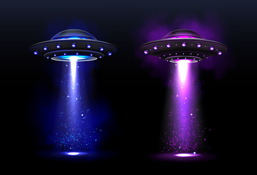 Alien spaceships, ufo with color light beam