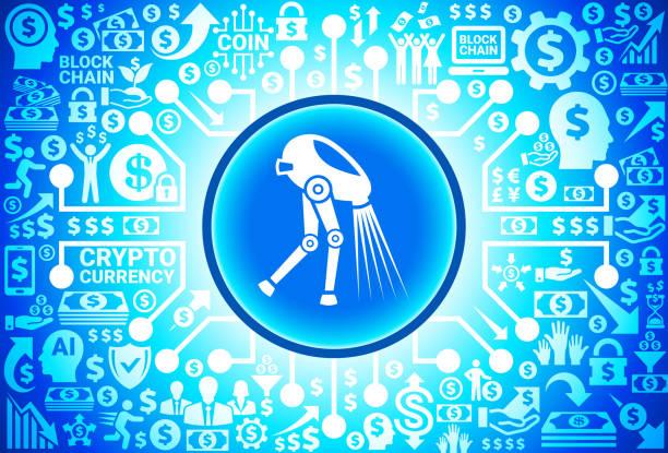Tecnología alienígena en icono dinero y fondo Cryptocurrency - ilustración  de arte vectorial e7b3bbaaa33