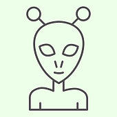 istock Alien thin line icon. Extraterrestrial foreigner with oval face and large eyes outline style pictogram on white background. Exploration signs for mobile concept and web design. Vector graphics. 1222147121