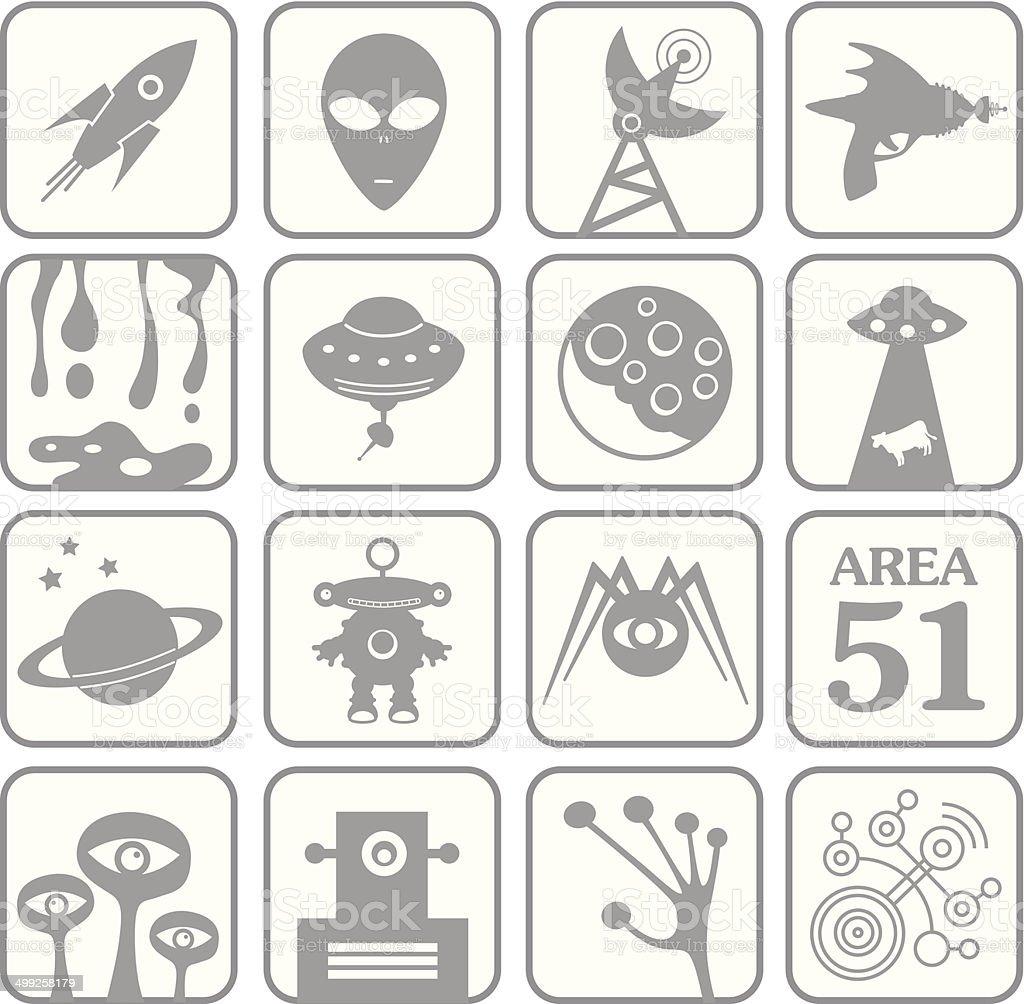 Alien White Key Icons vector art illustration