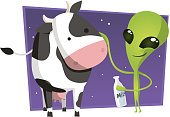 Alien with cow
