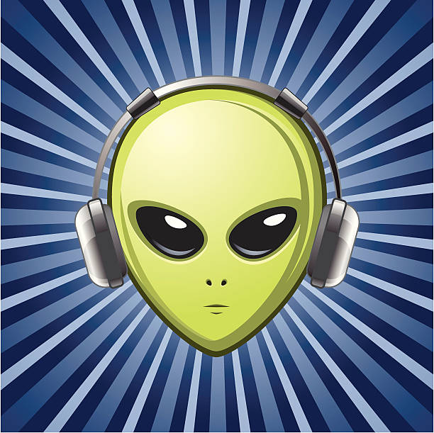 alien with headphones All major elements are placed on separate layers. Background or headphones can be easily removed. new age music stock illustrations