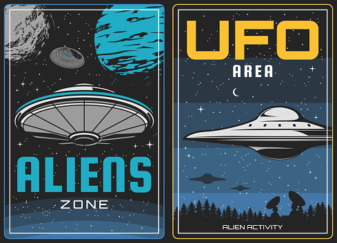 UFO aliens and outer space, universe planets
