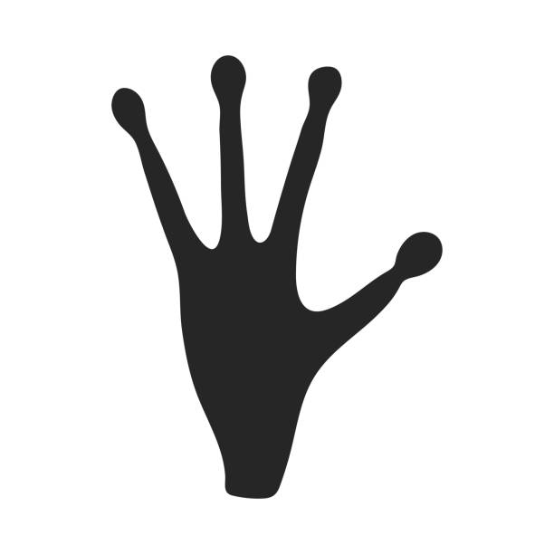Alien's hand icon in  black style isolated on white background. Space symbol stock vector illustration. - illustrazione arte vettoriale