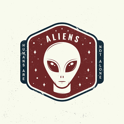Aliens. Humans are not alone shirt, t, design, print. Vector illustration Concept for shirt, print, stamp, overlay or template. Vintage typography design with alien and the space silhouette.