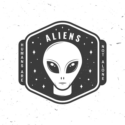Aliens. Humans are not alone. Vector illustration Concept for shirt, print, stamp, overlay or template. Vintage typography design with alien and the space silhouette.