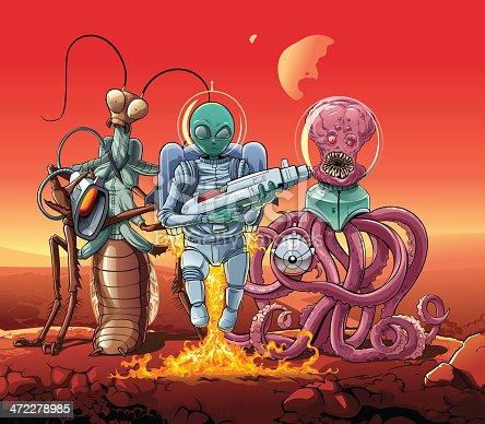 istock Aliens invaders at Mars. 472278985