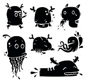 doodle  monster  illustrations...