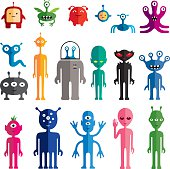 Set of vector alien characters in flat style.