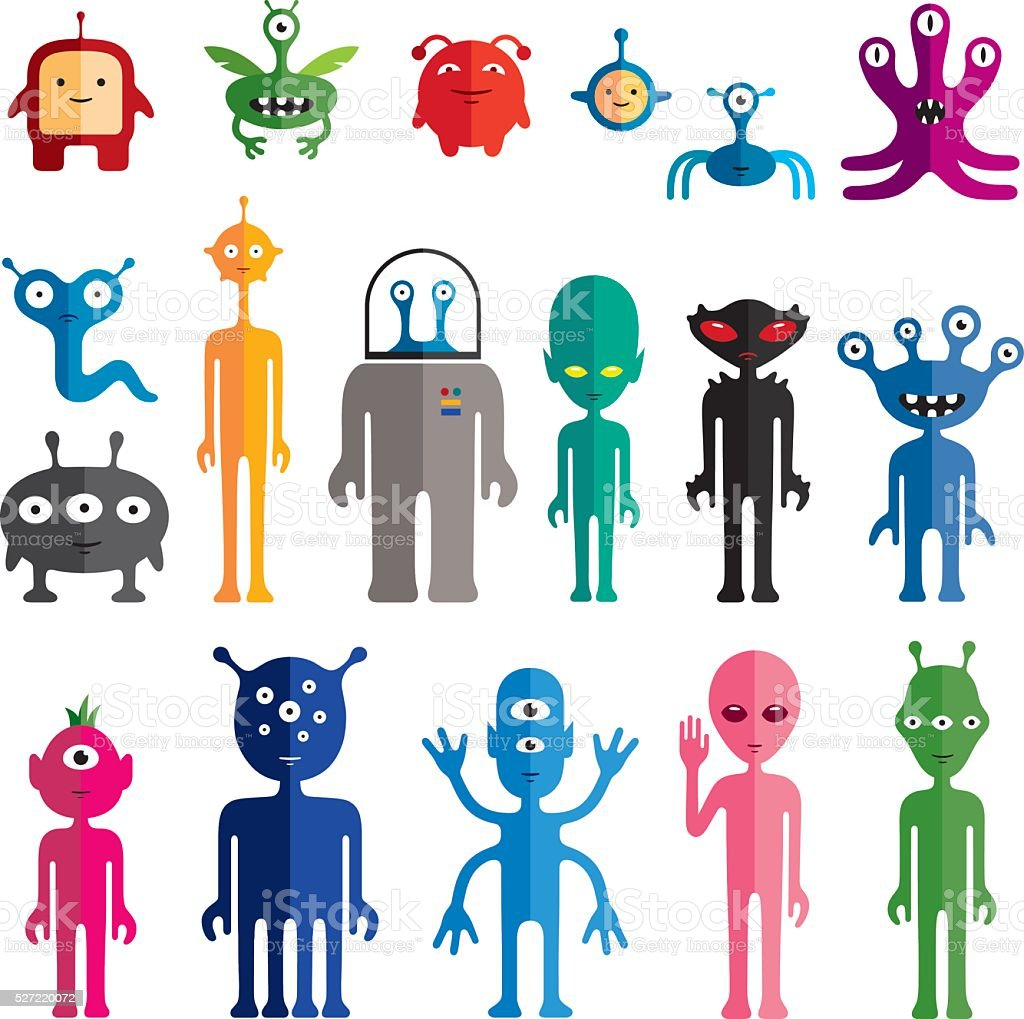Aliens vector art illustration