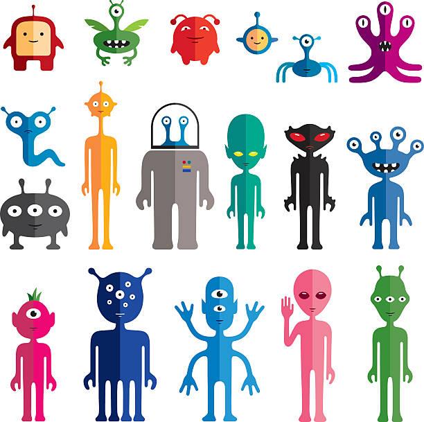 Aliens vector art illustration