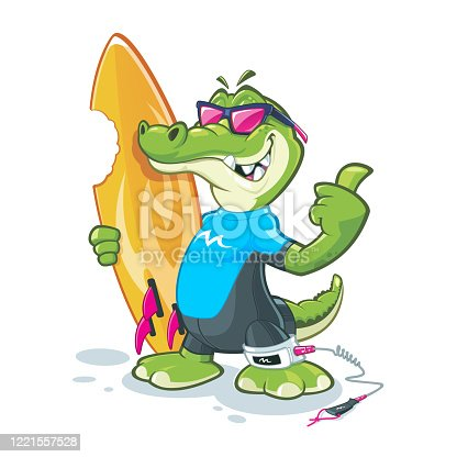 Cool looking colorful alligator cartoon character with sunglasses and surfboard showing thumb up