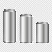 Aliminum drink cans isolated on transparent background. Vector illustration.