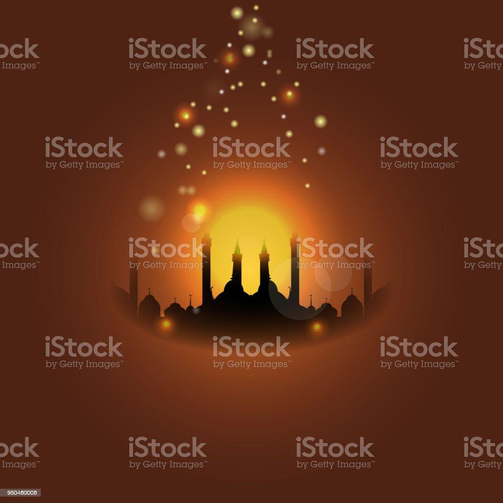 Al-Isra oder Leyletul Gadr Hintergrund. Übersetzung von Al-Isra und Leyletul Gadr ist herrlich und geheimnisvollen Nacht. – Vektorgrafik
