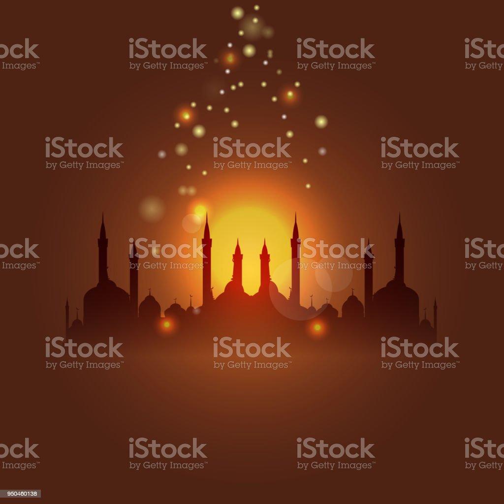Al-Isra or Leyletul Gadr background. Translation of Al-Isra and leyletul gadr is Glorious and mysterious night. vector art illustration