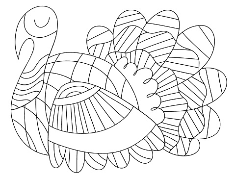Alive turkey bird vector coloring page for kids