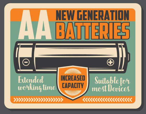 Alkaline electric battery retro signboard vector art illustration