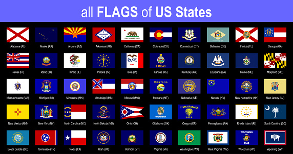 All 50 US State Flags - Alphabetically - Icon Set - Vector Illustration
