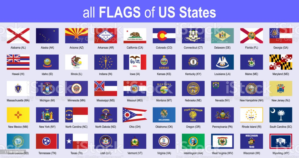 All 50 Us State Flags Alphabetically Icon Set Vector