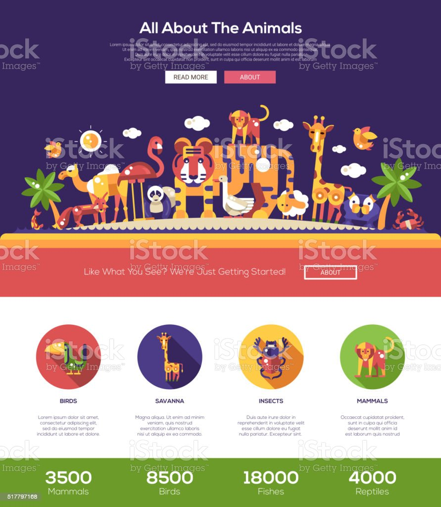 All about animals website header banner with webdesign elements vector art illustration