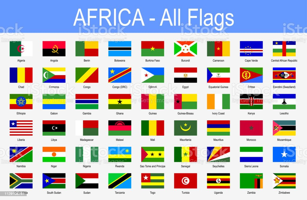 All African Flags Icon Set Vector Illustration Stock