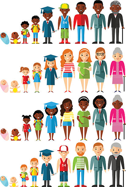 All age group of african american, european people Stages of development people - infancy, childhood, youth, maturity, old age.  baby human age stock illustrations
