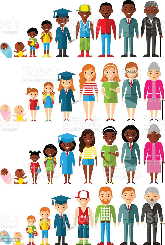 All age group of african american, european people vector art illustration