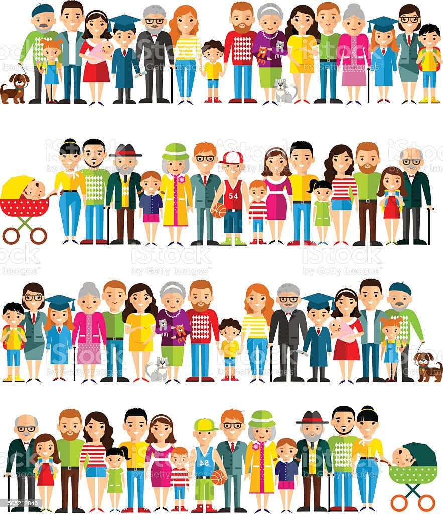 All age group of european people. vector art illustration