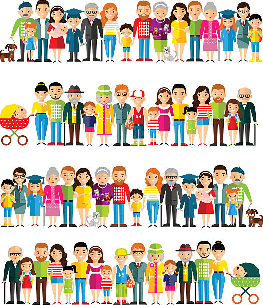 all age group of european people. - cartoon people stock illustrations, clip art, cartoons, & icons