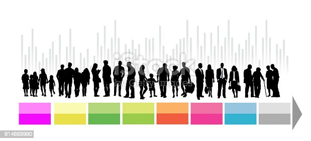 Large population in silhouette illustration with infographic arrow in bright colors