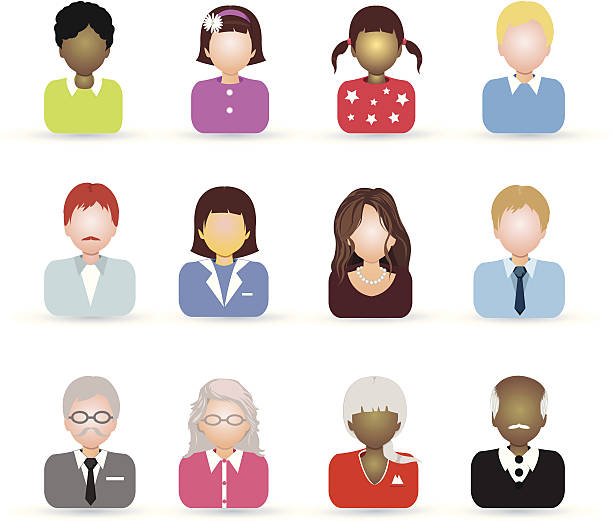 all ages people icon - old man hair stock illustrations, clip art, cartoons, & icons