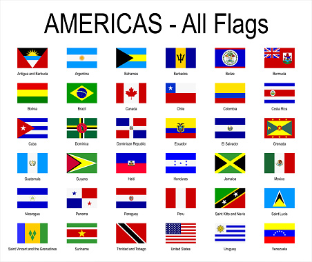 All Americas Flags - Icon Set - Vector Illustration