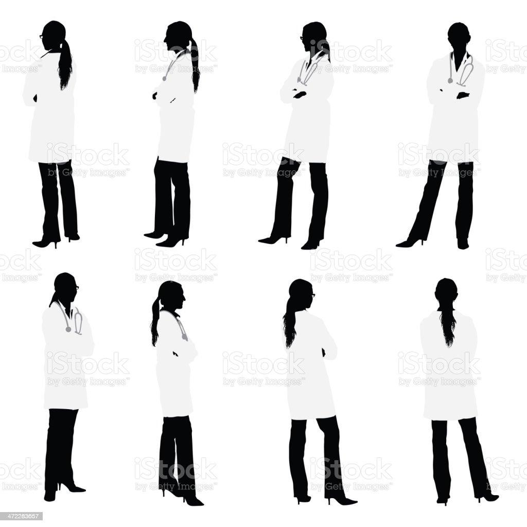 Tutte le viste di medico femmina - arte vettoriale royalty-free di Adulto