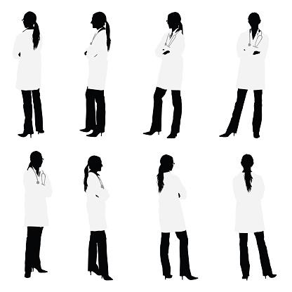 Tutte Le Viste Di Medico Femmina - Immagini vettoriali stock e altre immagini di Adulto