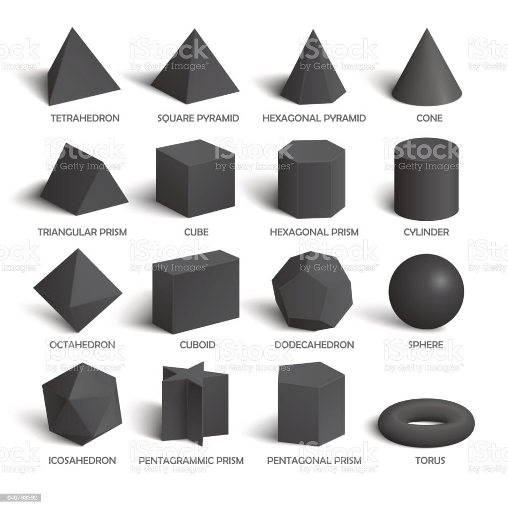 All basic 3d shapes template in dark vector art illustration
