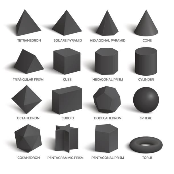 stockillustraties, clipart, cartoons en iconen met alle fundamentele 3d vormen sjabloon in donker - veelvlakkig