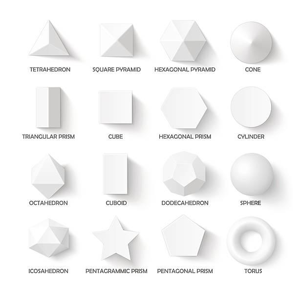 illustrazioni stock, clip art, cartoni animati e icone di tendenza di tutte le forme di base 3d - rombo