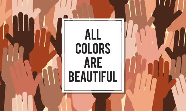 ilustrações, clipart, desenhos animados e ícones de todas as cores são belas ilustrações vetoriais. igualdade e nenhum conceito de racismo. - consciência negra