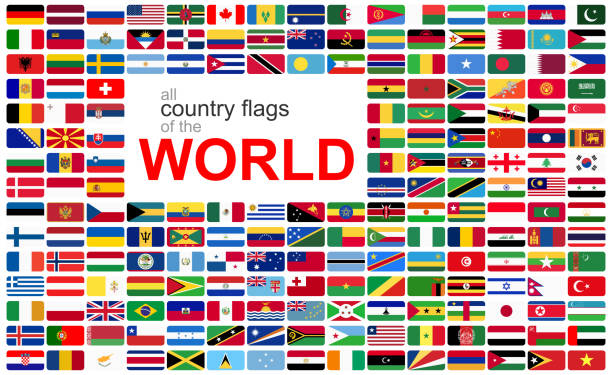all country flags of the world collection of flags from all national countries of the world national flag illustrations stock illustrations