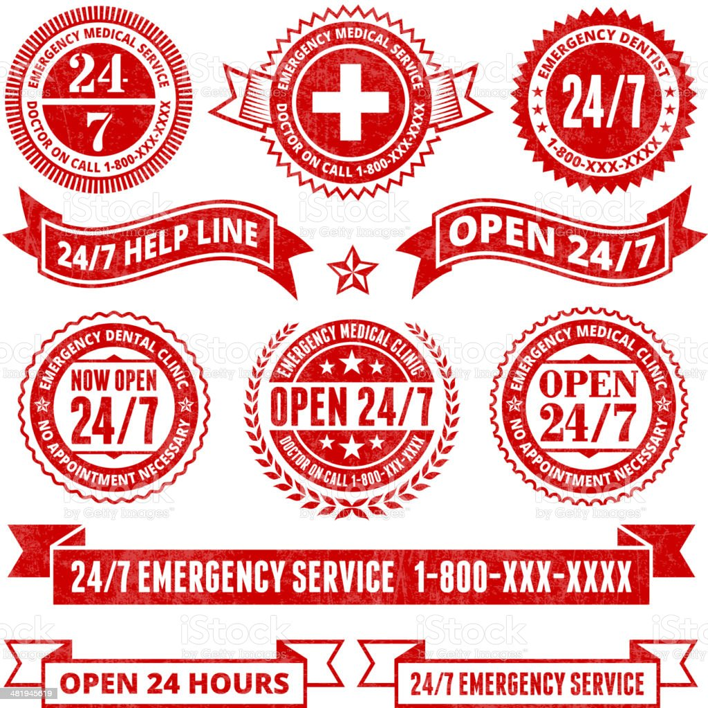 All Day 24 7 Emergency Support Badges Grunge Set royalty-free stock vector art