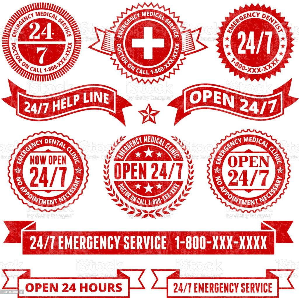 All Day 24 7 Emergency Support Badges Grunge Set vector art illustration