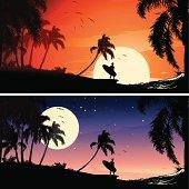 Suf scenes sunset and moonlight