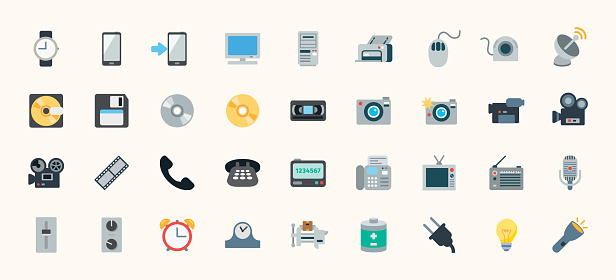 All Devices Flat Vector Icons Set. Mobile Devices, Technology, Application Emoji Symbols Illustration - Vector