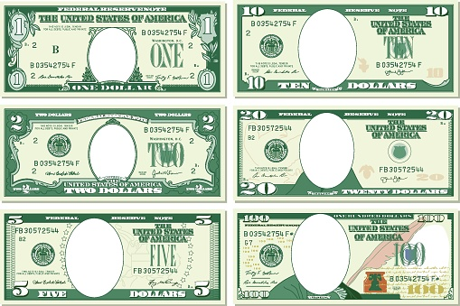 US Paper Currency, Dollar Sign, Currency, Vector, Paper Currency