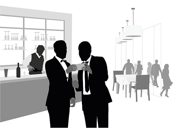 All Dressed Up And Using A Phablet A vector silhouette illustration of two young men in a tuxedo and suit looking at a cell phone while in a classy bar and restaurant. suave stock illustrations
