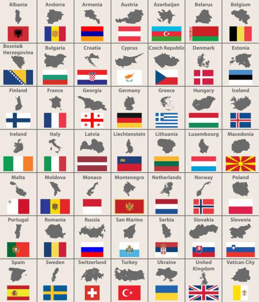 すべてのヨーロッパの地図とフラグ。ベクトル - アイルランドの国旗点のイラスト素材/クリップアート素材/マンガ素材/アイコン素材
