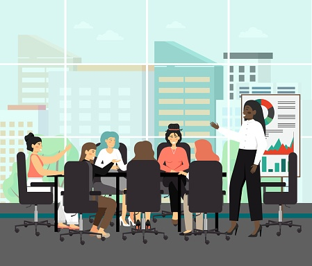 All female board with black chairwoman, concept vector illustration. Board of directors meeting with black woman as a CEO. Business executive meeting and presentation. Business concefence