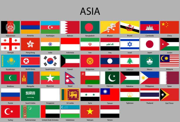 stockillustraties, clipart, cartoons en iconen met alle vlaggen van azië. - singapore