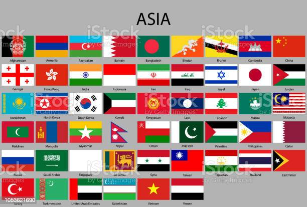 All Flags Of Asia - Stockowe grafiki wektorowe i więcej obrazów Afganistan